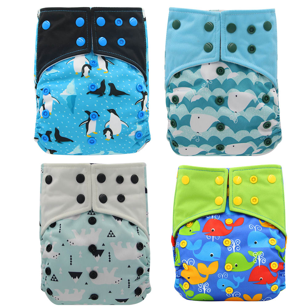 Baby Diapers Waterpoof PUL Bamboo Charcoal AI2 Cloth Diaper Cover Adjustable Couche Lavable Double Gussets Baby Nappies