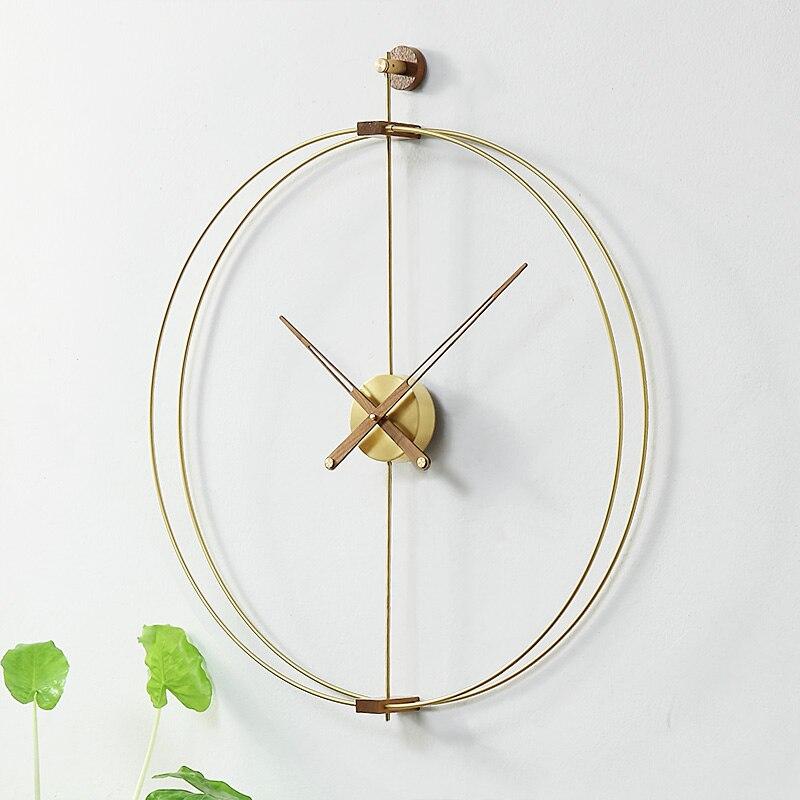 Nordic Kreative Wanduhr Metall Wohnzimmer Nussbaum Holz Schweigen Uhr Spanien Moderne Uhren Wand Uhr Wohnkultur Duvar Saati Geschenk Leather Bag