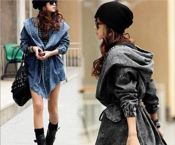 Denim Trench Coat For Women Autumn Loose Long Coat WomentDouble-Breasted Loose Jeans Trench Coat Windbreaker Manteau Femme