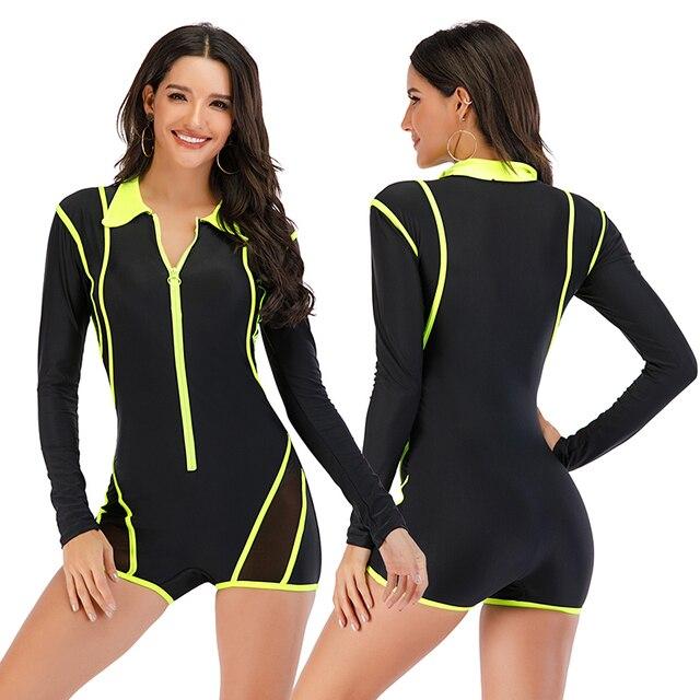Mesh Front Long Sleeve Swimwear Sport Surfing Swimming Suit 4