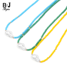Trendy Statement Chokers Necklaces For Women Boho Imitation Big Baroque Resin Pearl Cut Crystal Beaded Necklace Jewelry NKS250