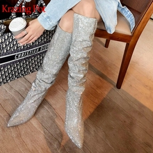 Knee-High Boots Krazing-Pot Heel Pleated-Decoration Pointed-Toe Luxury of Slip-On L19