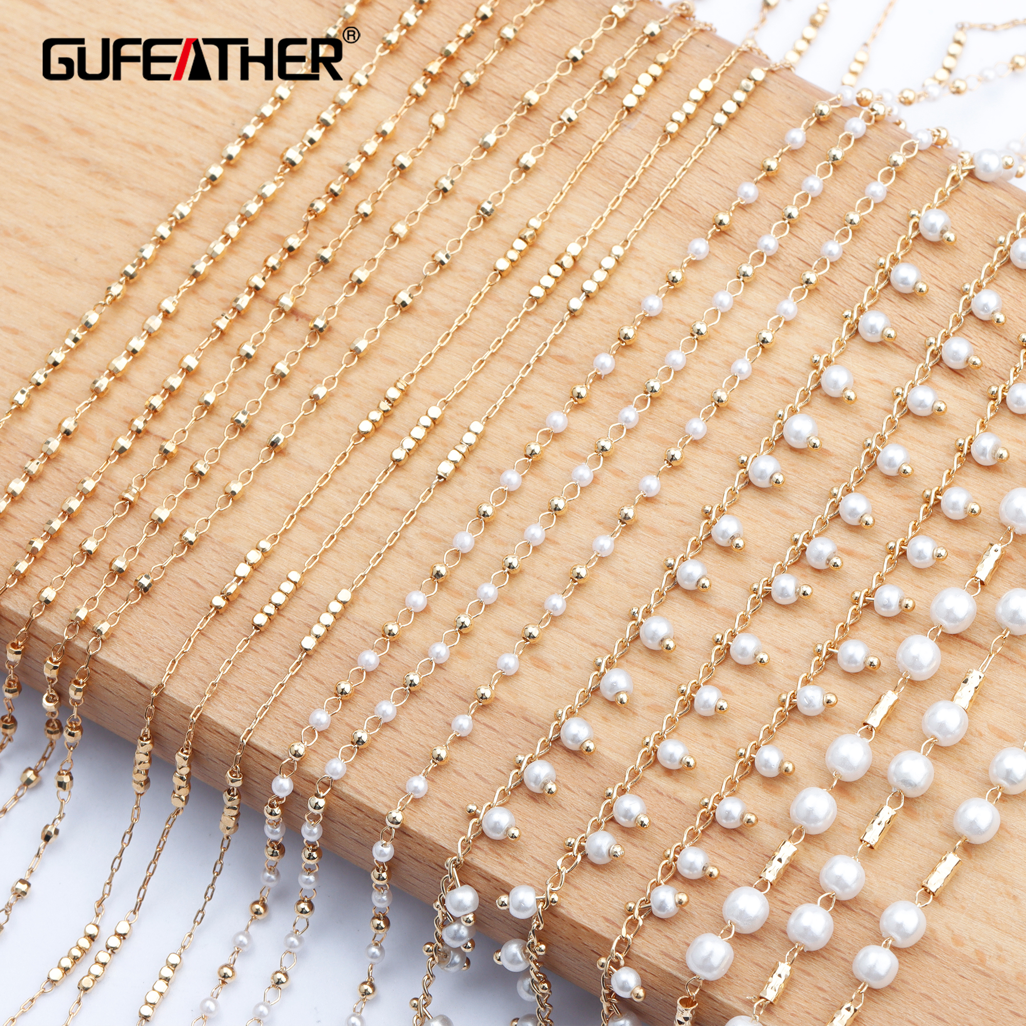 GUFEATHER C79,jewelry Accessories,diy Chain,18k Gold Plated,charms,pearl,hand Made,diy Chain Necklace,jewelry Making,1m/lot