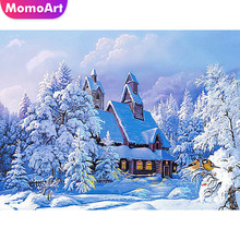 MomoArt Diamond Embroidery Landscape Painting Snow Winter Mosaic Full Drill Square Home Decoration