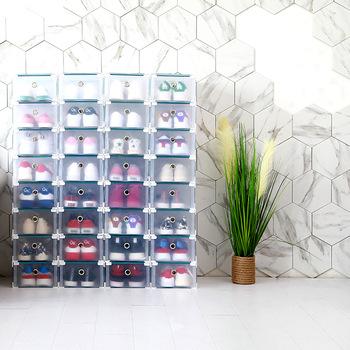 6 sztuk zestaw przezroczyste pudełko na buty walizka z szufladami z tworzywa sztucznego pudełko na buty es pudełko z szufladami do przechowywania w domu pudełko typu organizer tanie i dobre opinie CN (pochodzenie) Szuflady magazynowe SND117 Składane