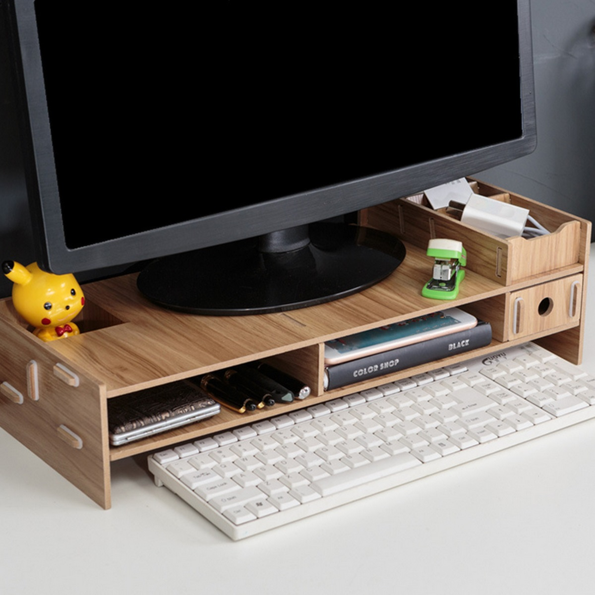 Desk-Holder Shelf Laptop-Stand Wood Desktop Monitor Stand Computer Screen Riser Shelf Plinth Strong Laptop Stand Desk Holder