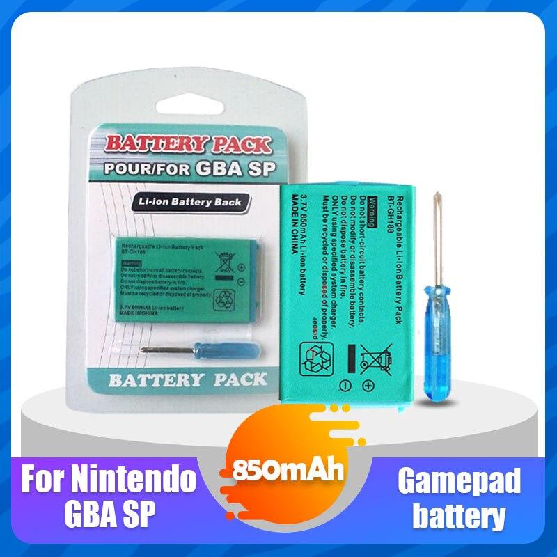 1 шт., литий-ионный аккумулятор 3,7 В 850 мАч для Nintendo GBA SP, аккумуляторная батарея + Замена отвертки для ножа