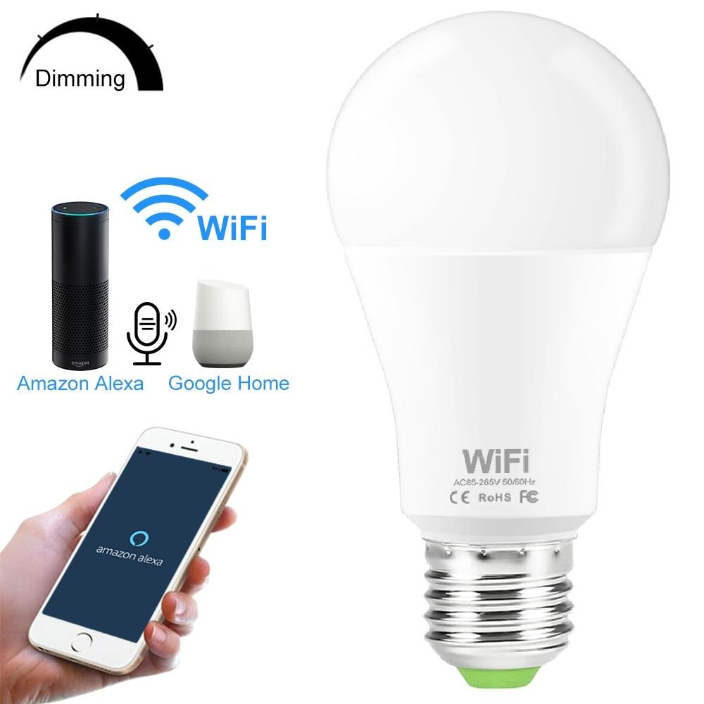 Умная лампа E27 B22, 15 Вт, Wi-Fi, 110 В, 220 В, 2835, диммируемая, беспроводная, Wi-Fi, дистанционное управление, лампа, светильник, работает с Amazon Alexa Google Home