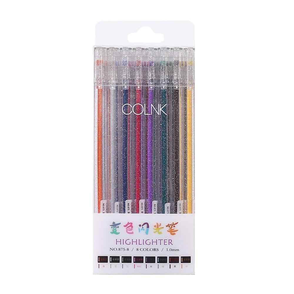 8 pièces/ensemble STA stylo à craie d'eau à encre colorée métallique pour Scrapbook Album Photo dessin aquarelle Art marqueur stylos Gel papeterie