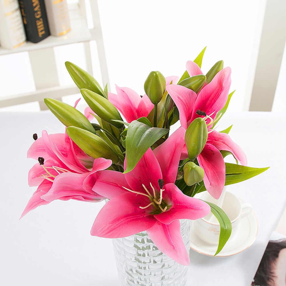 Flores de lirio artificiales de tacto Real de látex 3 cabezas de flores artificiales Ramos decoración de boda para el hogar flores falsas