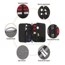 متعددة الوظائف المحمولة حزام ساعة اليد المنظم حزام (استيك) ساعة مربع حقيبة التخزين حامل مربط الساعة ووتش السفر حالة الحقيبة رمادي الأرجواني