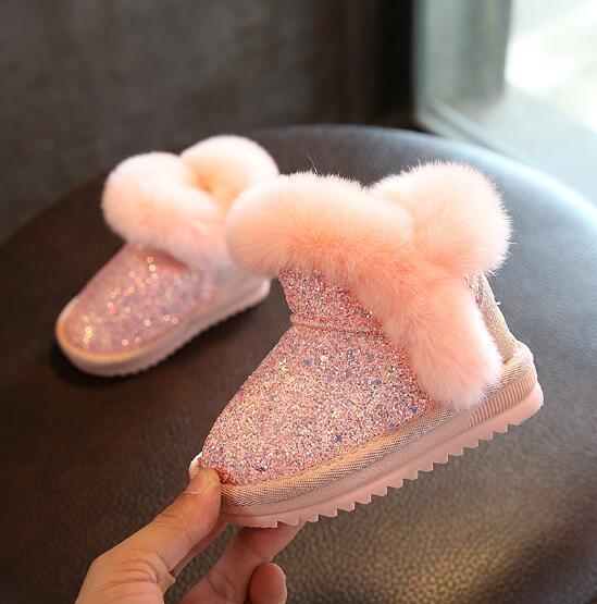 2020 Children's snow boots girls rabbit fur martin boots baby cotton sport shoes sequins genuine leather princess boots