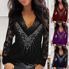 T Shirt For Women Long Sleeve Lace Shiny Sequins fashion Sexy V-neck Long Sleeves Elegant Tops Women 2020 Camiseta de mujer