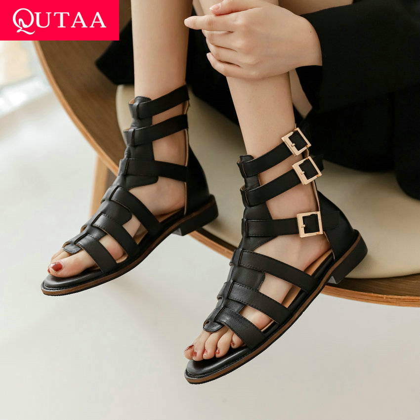 QUTAA 2021 Rome Sandals Square Heel Buckle Zipper Summer Female Shoes Casual Genuine Leather Cut Outs Women Pumps Size 34-39