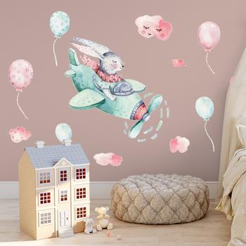 Ręcznie malowane śmieszne latające królik naklejki ścienne dla dzieci pokój pokój dziecięcy ściana z balonami naklejki ekologiczne DIY malowidła Home Decor tanie i dobre opinie heatboywade Płaska naklejka ścienna Europejska Do płytek For Wall naklejki okienne 2 sztuk cartoon 45*60cm 16*24inch*2pcs