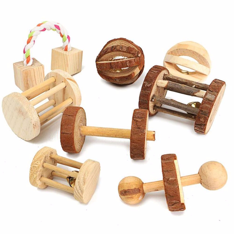 Cute Natural Wooden Rabbits Toys Accessories Dumbells Unicycle Bell Roller Chew For Guinea Pigs Rat Small Animal Pet Supplies