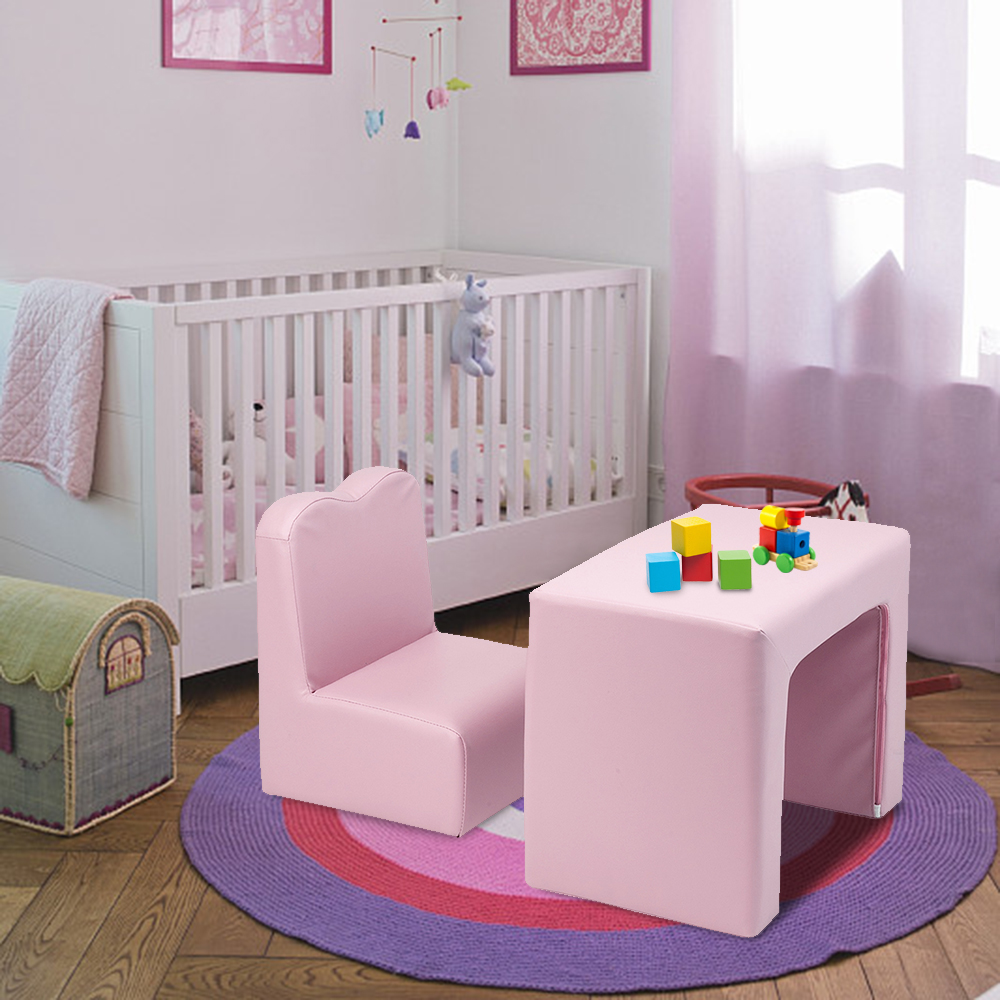 ?US Warehouse?Children Sofa Multi-Functional Sofa Table and Chair Set Pink Free Shipping to USA Drop Shipping