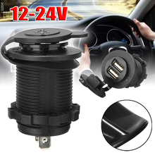 цена на 1 piece Car Cigarette Lighter Socket Dual USB Charger Power Adapter Accessory Black DC 12V-24V for car accessories