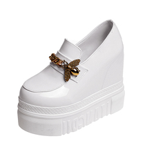 YeddaMavis Shoes 12CM Platform Sneakers White Women New PU Muffin Bottom Womens Woman Trainers