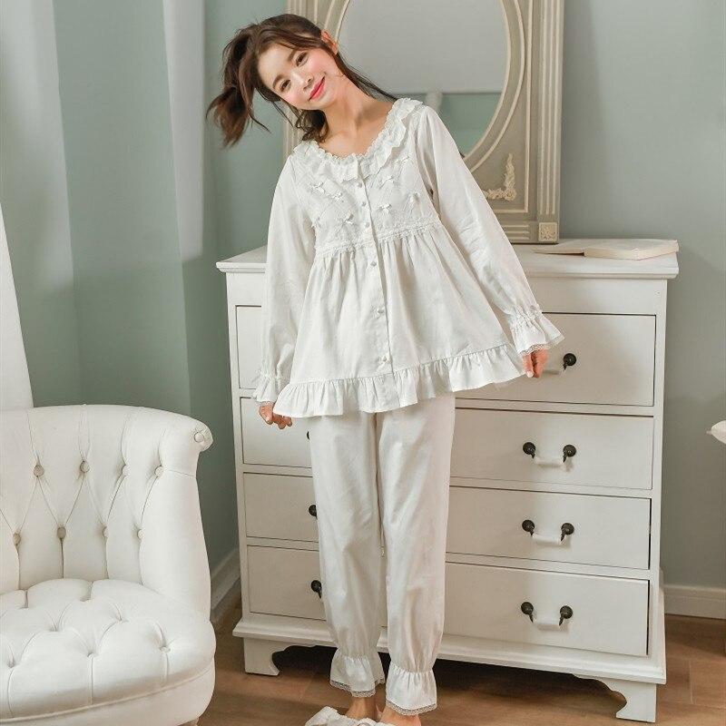 Soft White Cotton Women's Cardigan Pajamas Sets Spring Autumn Female NightShirt Pyjamas Long Sleeve Casual Loose Sleepwear