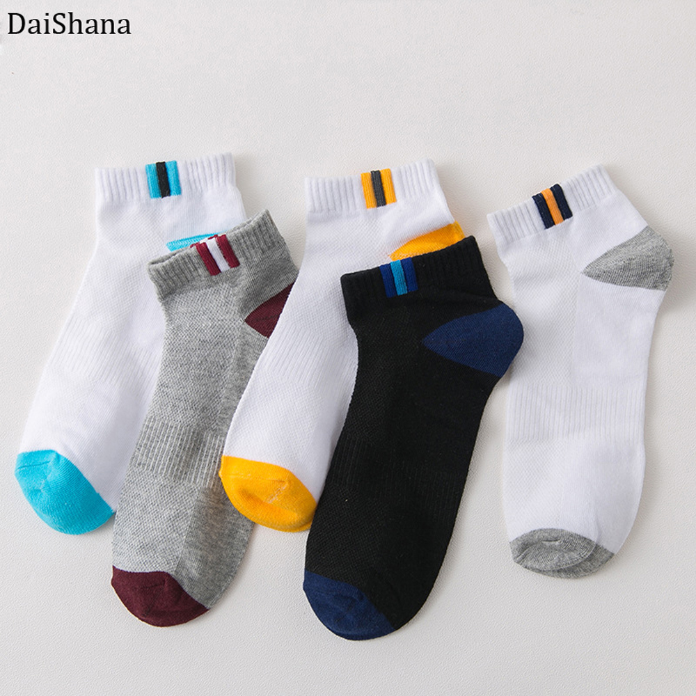 Men's Autumn Summer Socks Classic Patchwork Mesh Men Short Socks Deodorant Male Sock Casual Slippers Comfortable Breathable Sock