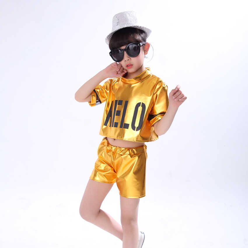 เด็กModern Jazz Dance Ballroomเด็กสาวเชียร์ลีดเดอร์เสื้อผ้าเด็กผู้ชายเสื้อ + กางเกงขาสั้นเวทีสวมใส่Performance