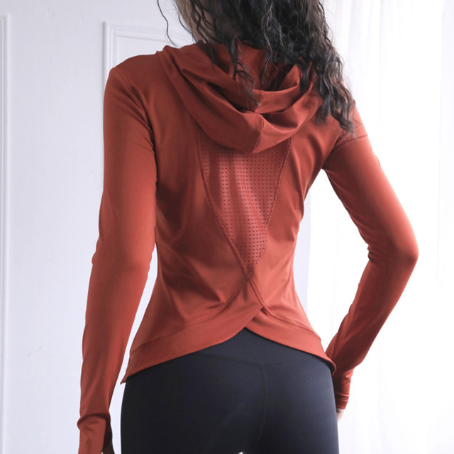 Women Back Forked Yoga Shirt Long Sleeve Thumb Hole Running T-shirt Mesh Breathable Sport Hoodies Fitness Top Gym Workout Blouse 2