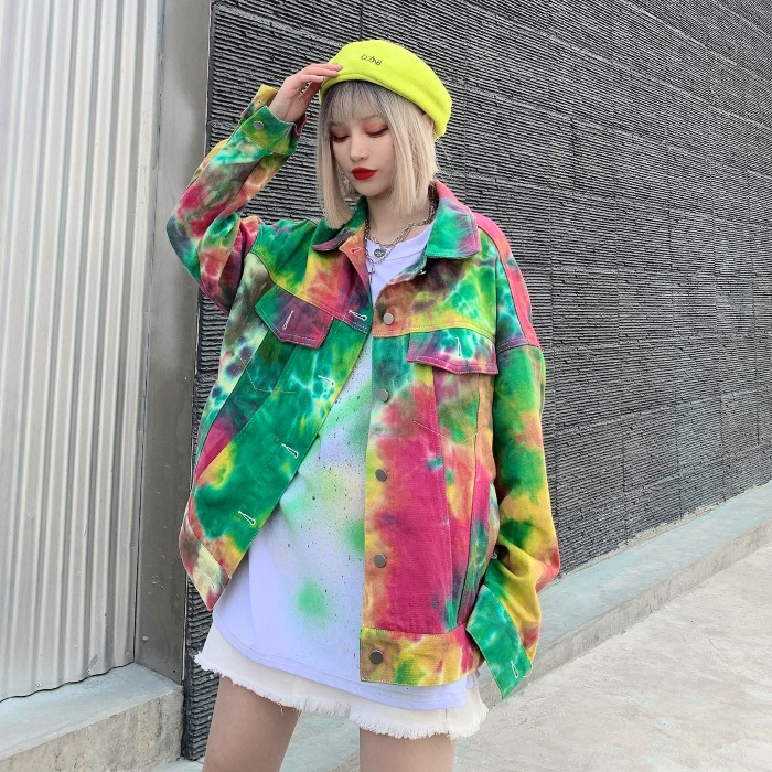 LYFZOUS 2020 Spring Denim Jackets Bf Style Colorful Print Women Chic Jackets Streetwear Outwear Oversized Loose Coats Jaqueta