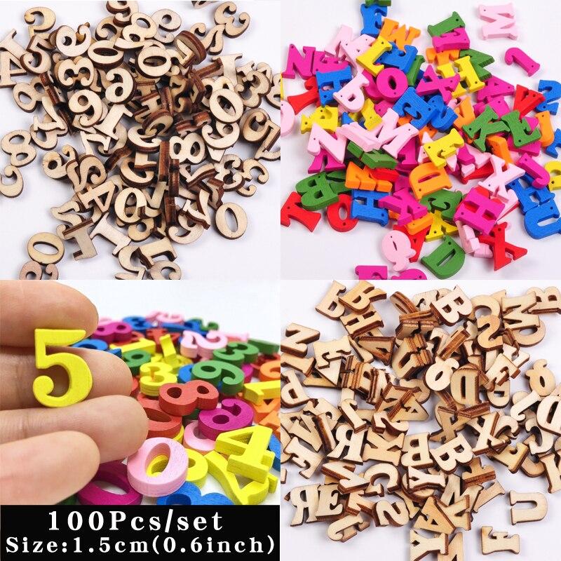 100 sztuk śliczne litery numery drewniany alfabet upiększeń Scrabble Scrapbooking, rzemiosło Cardmaking dostarcza DIY cyfrowy wyświetlacz