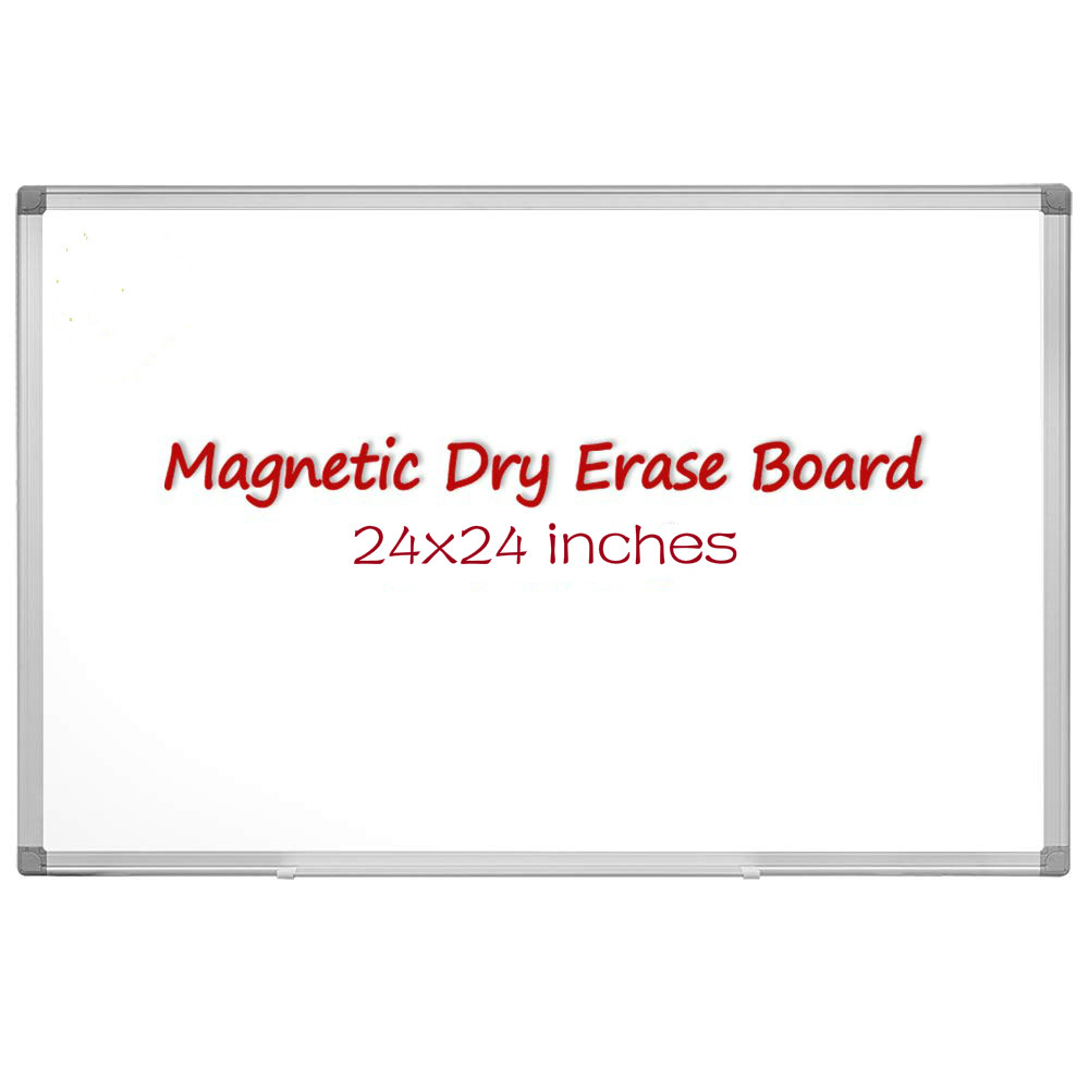Magnetic Dry Erase Board, 60x60cm(24 X 24 Inches) Magnetic Whiteboard, Silver Aluminum Frame With Detachable Marker Tray