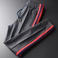 Double Composite Fabric Mens Luxury Ribbon Contrast Color Sport Thick Male Pants Plus Size 4xl Casual Man Trousers