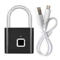Security Intelligent USB Rechargeable Door Lock Fingerprint Padlock Quick Unlock Fingerprint Lock
