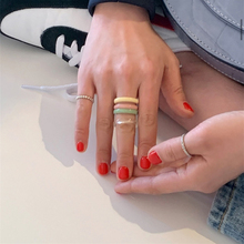 1 PC Korea 2020 Chic Colorful Transparent Resin Acrylic Rings Hot Morandi Color Women Party Jewelry Ring Set