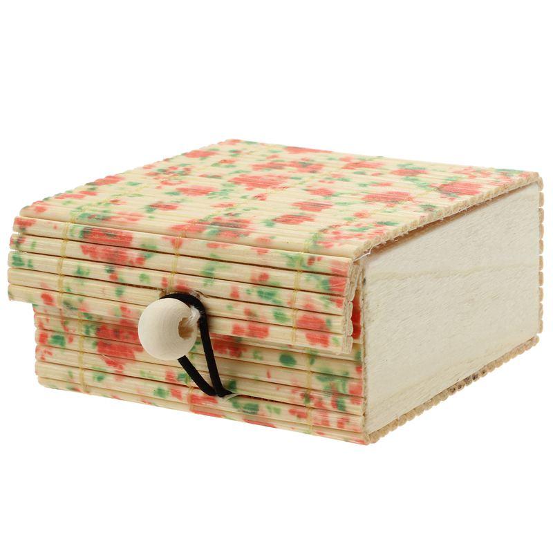 Ev ve Bahçe'ten Kutsal Saklama Kutuları'de 1 adet narin yüzük kolye küpe bambu ahşap durumda takı saklama kutuları küçük çiçek title=