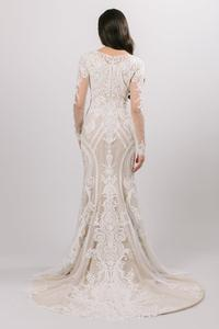 Image 3 - Boho Lace Mermaid Modest Wedding Dresses With Long Sleeves Ivory Lace Champagne Lining LDS Bridal Gowns Custom Made