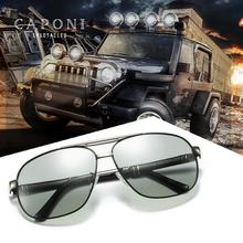 CAPONI Square Driving Sunglasses For Men UV Protect Anti Glare Chameleon Mens Sun Glasses Polarized Grey Lens Eyewear BS0960