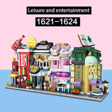 цена на LOZ Mini Block Barber Bakery Photo Clothing Shop Architecture Model Building Blocks City Series Mini Street Store Children Brick