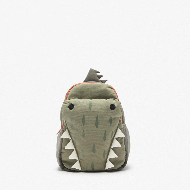School Bag Boys And Girls of New cute three-dimensional green small crocodile backpack personality student bag Backpack Purse
