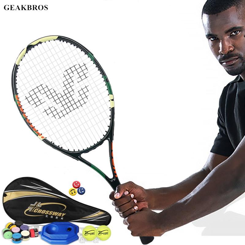 Professional Tennis Racket Technical Type Carbon Aluminum Alloy Raqueta Paddle Men Women Trainning Racquet With Bag Trainer Ball