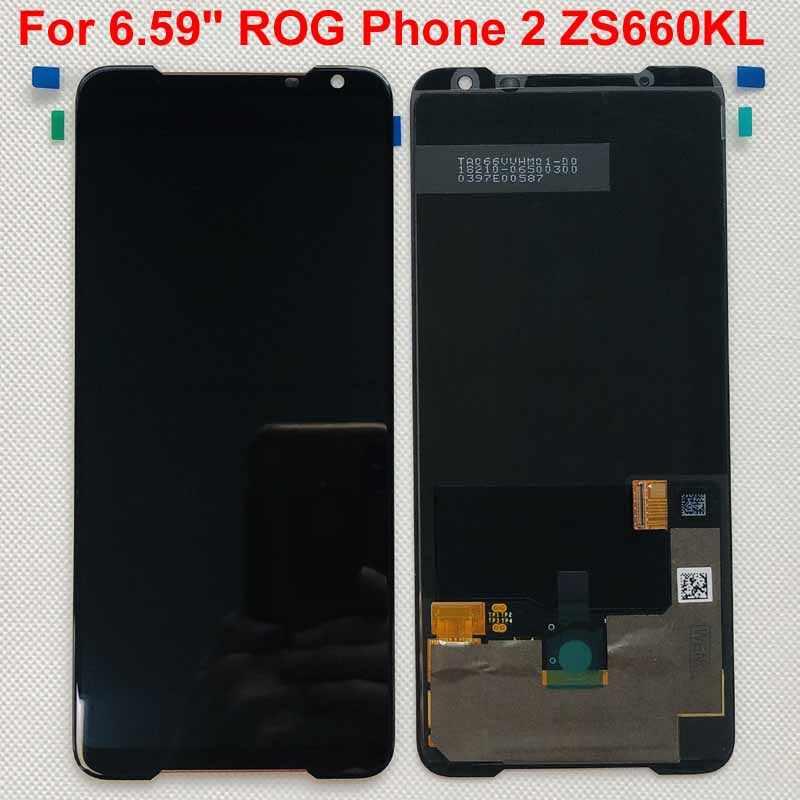 """6.59 """"สำหรับ ASUS ROG โทรศัพท์ 2 Phone2 ROG โทรศัพท์ Ⅱ ZS660KL Original AMOLED จอแสดงผล LCD หน้าจอ + TOUCH Digitizer"""