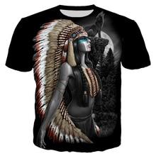 Feroce Animale Lupo e Indiani T Camicia Degli Uomini di Abbigliamento di Moda 3D Stampa Uomini/Donne di Stile Harajuku Streetwear Magliette E Camicette T82