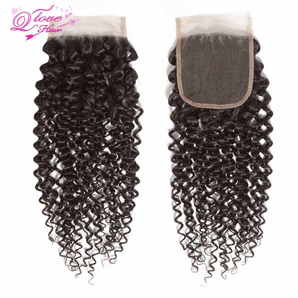 Królowa miłość włosy 5 sztuk/partia malezyjski perwersyjne kręcone zestawy 4 zestawy z zamknięciem wiązki ludzkich włosów z zamknięciem Remy włosy