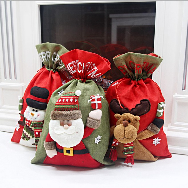 Christmas Gift Bags Drawstring Bag Christmas Decorations 3D Doll Large Burlap Bags Holiday Gifts For The Elderly Backpack