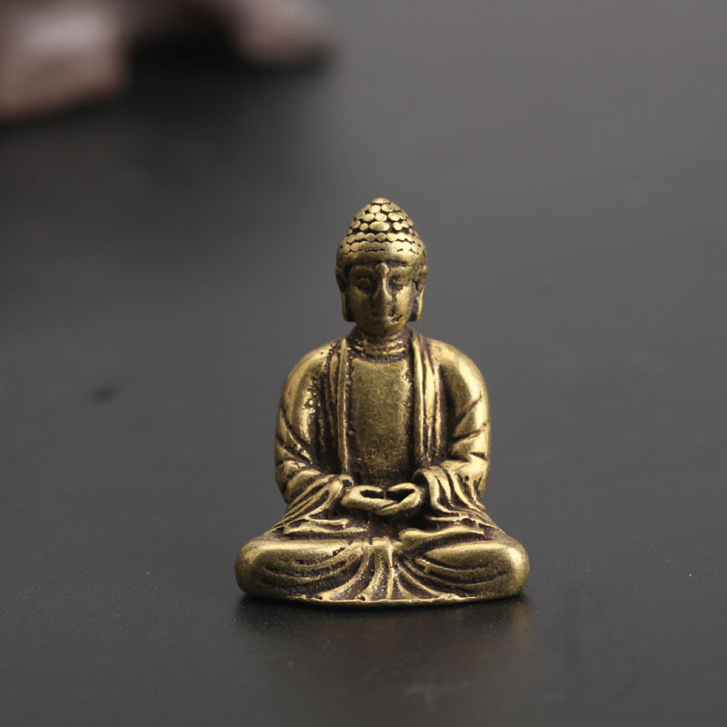 Antique Brass Buddha Sakyamuni Statue Home Decorations Craft Accessories For Living Room Copper Pocket Buddha Figurines Ornament
