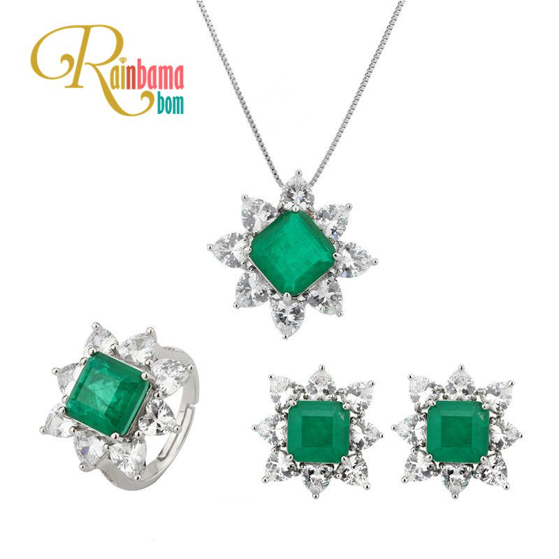 Rainbamabom Vintage <font><b>925</b></font> Solid Sterling <font><b>Silver</b></font> Emerald Gemstone Necklace/Earrings/Rings Cocktail Wedding <font><b>Jewelry</b></font> <font><b>Sets</b></font> Wholesale image