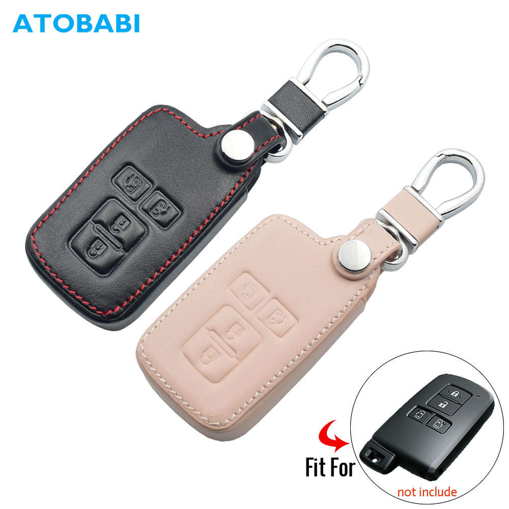 Leather Car Key Case For Toyota Sienta Noah Voxy Esquire VELLFIRE Alphard 4 Buttons Remote Fob Cover Keychain Bag Auto Accessory
