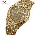 Мужские кварцевые наручные часы ONOLA  водонепроницаемые часы из нержавеющей стали  золотого и серебряного цвета