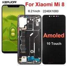 Amoled tela para xiaomi mi 8 mi8 display lcd tela de toque substituição digitador assembléia para xiaomi mi 8 m1803e1a tela lcd