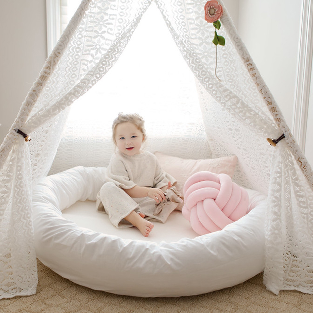 Large Round Baby Sleeping Nest Bed Safe Soft Plush Infant Lounger Nursery Play Mat Babyrede For Infants Toddlers Canopy Cushion