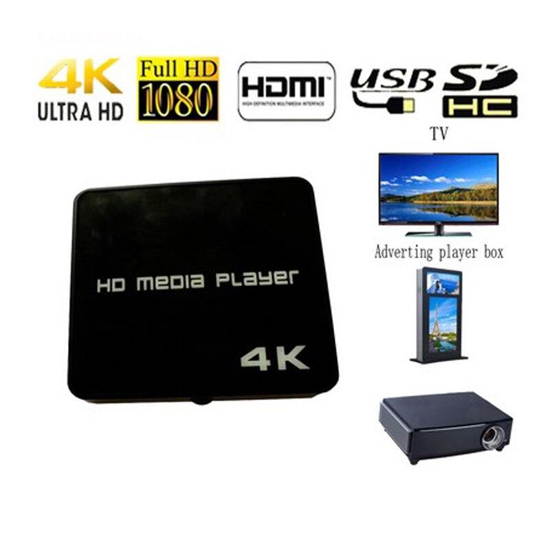 4K HD Media Player 1080P USB Video Multimedia Digital Signage Adverting Player Box Auto Play Mediaplayer for AV/USB/SD/TF Card